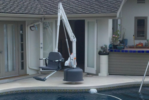 pool lift suspended over water